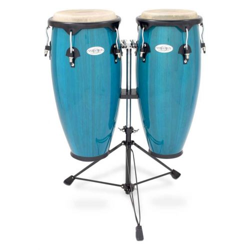 TOCA SERIES WOOD CONGA SET WITH STAND 10'' AND 11'' DOUBLE STAND BLUE 2300BB