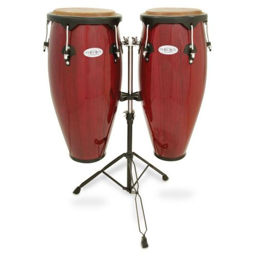 TOCA SERIES WOOD CONGA SET WITH STAND 10'' AND 11'' DOUBLE STAND RED 2300RR