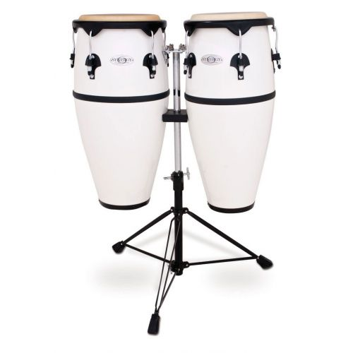 TOCA SERIES FIBERGLASS CONGA SET WITH STAND FIBER 10'' AND 11'' DOUBLE STAND WHITE 2300FWH
