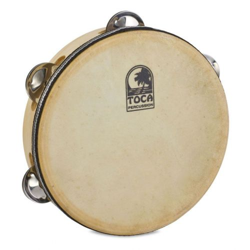 TOCA SINGLE JINGLE ROW TAMBOURINE WOOD 7 1/2'' WITH HEAD T1075H