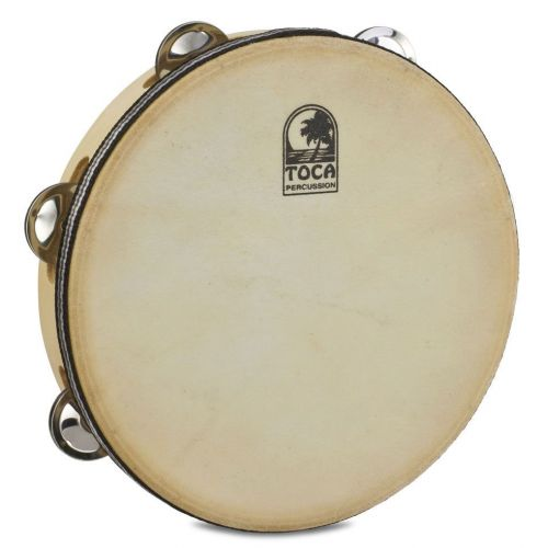 TOCA DOUBLE JINGLE ROW TAMBOURINE WOOD 9'' WITH HEAD T1090H