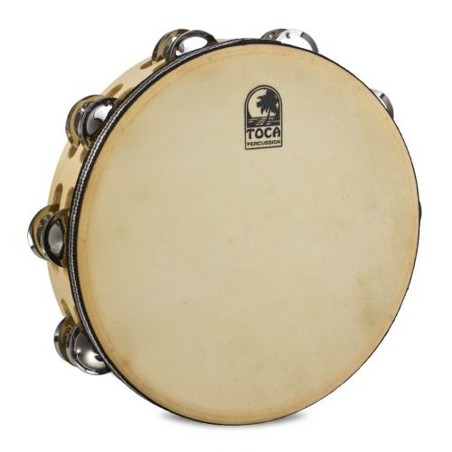 TOCA DOUBLE JINGLE ROW TAMBOURINE WOOD 10'' WITH HEAD T1010H