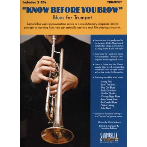 SANTORELLA PUBLICATIONS KNOW BEFORE YOU BLOW BLUES FOR TRUMPET + 2 CD