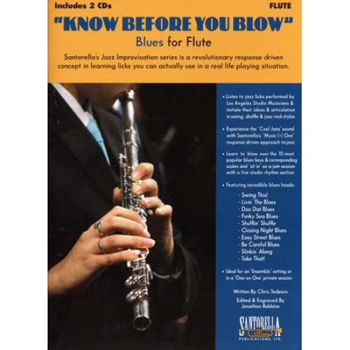 SANTORELLA PUBLICATIONS KNOW BEFORE YOU BLOW BLUES FOR FLUTE + 2 CD