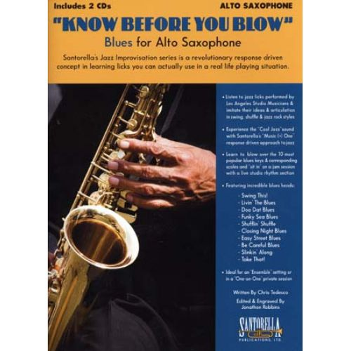 SANTORELLA PUBLICATIONS KNOW BEFORE YOU BLOW BLUES FOR ALTO SAX + 2 CD
