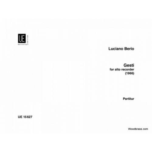 UNIVERSAL EDITION BERIO L. - GESTI - FLUTE A BEC ALTO