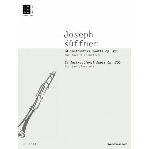 UNIVERSAL EDITION KueFFNER J. - 24 INSTRUKTIVE DUETTE IN PROGRESSIVER FOLGE OP. 200 - 2 CLARINETTES