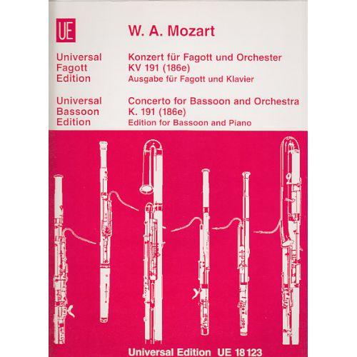 UNIVERSAL EDITION MOZART W.A. KONZERT FüR FAGOTT UND ORCHESTER, KV 191 (186E)