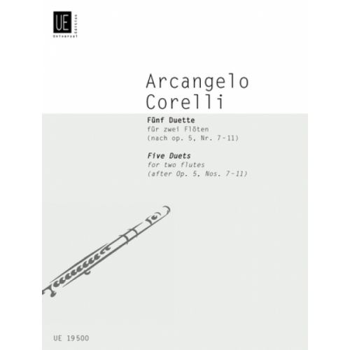 UNIVERSAL EDITION CORELLI A. - 5 DUETS OP.5, NR. 7-11 - 2 FLUTES