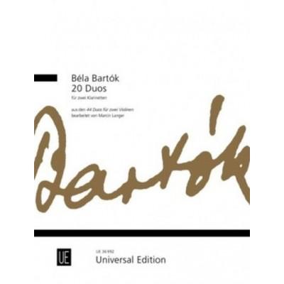 UNIVERSAL EDITION BARTOK BELA - 20 DUOS - 2 CLARINETTES