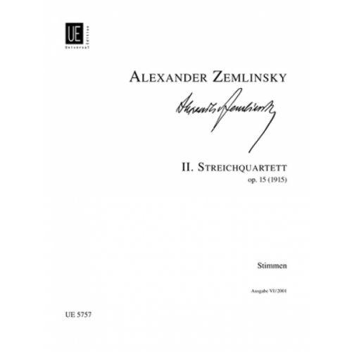 UNIVERSAL EDITION ZEMLINSKY A. - STRING QUARTET II PARTS OP.15 - STRING QUARTET