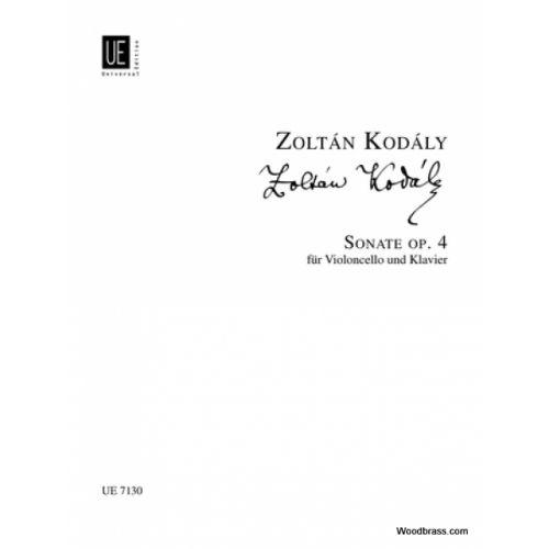 UNIVERSAL EDITION KODALY Z. - SONATA OP. 4 - VIOLONCELLE ET PIANO
