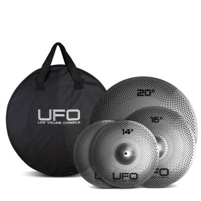 "UFO CYMBALS SET 3 CYMBALES LOW VOLUME - 14"" 16"" 20"" + BAG"