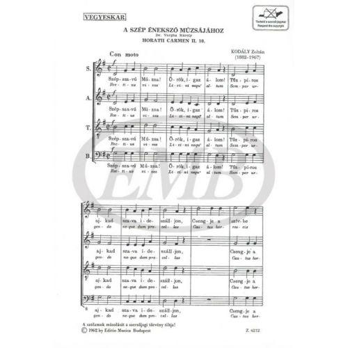 EMB (EDITIO MUSICA BUDAPEST) KODALY Z. - HORATII CARMEN II 10 - CHOEUR