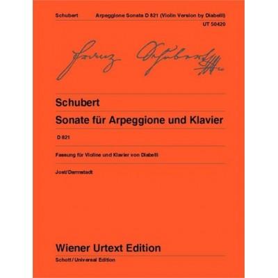 WIENER URTEXT EDITION SCHUBERT FRANZ - SONATA FOR ARPEGGIONE & PIANO D 821 - VIOLON & PIANO