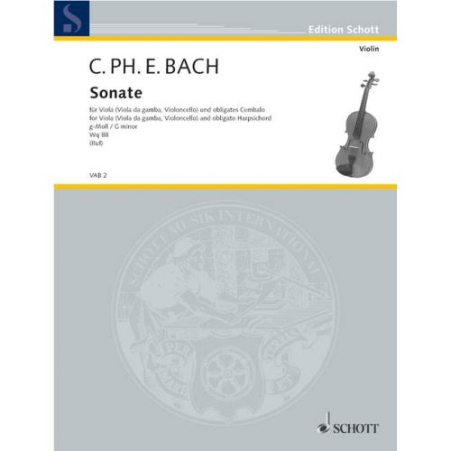 SCHOTT BACH C.P.E. - SONATA G MINOR WQ88 - VIOLA AND HARPSICHORD OBLIGATORY