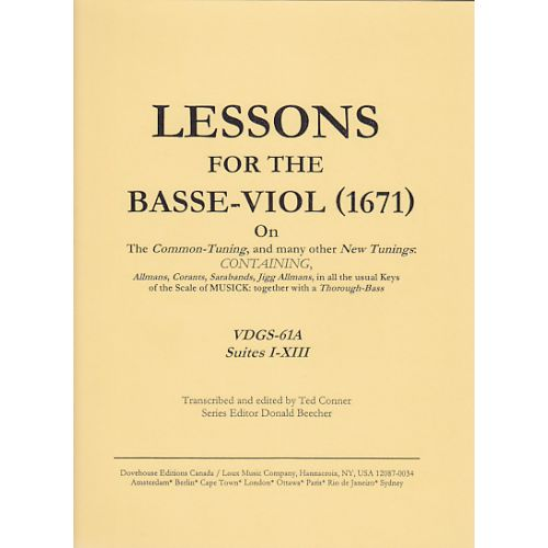 DOVEHOUSE EDITIONS MOSS JOHN - LESSONS FOR THE BASS VIOL VOL.1 - VIOLE DE GAMBE