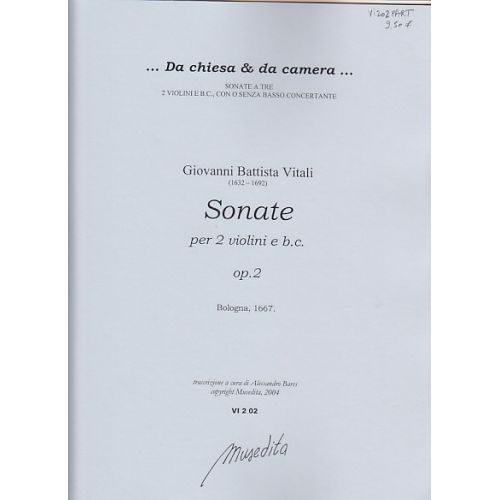 MUSEDITA VITALI T. A. - SONATE A DUE VIOLINI OP. 2 - SET PARTIES