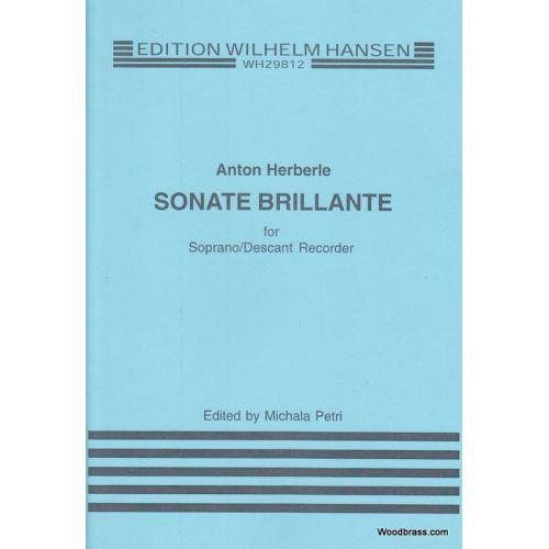 WILHELM HANSEN HEBERLE A. - SONATE BRILLANTE - FLUTE A BEC SOPRANO SOLO