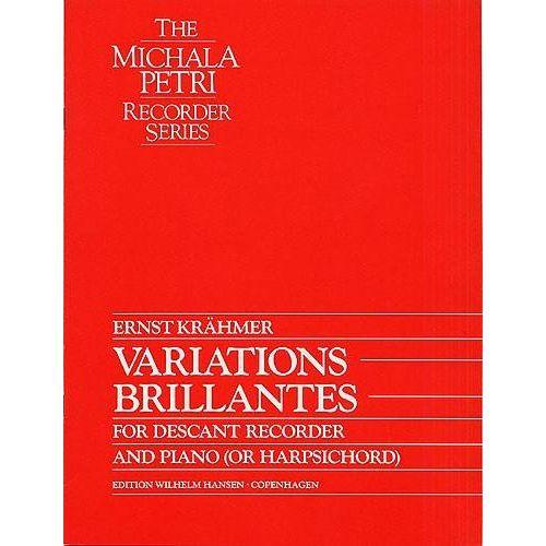 WILHELM HANSEN KRÄHMER E. - VARIATIONS BRILLANTES FOR DESCANT RECORDER AND PIANO (OR HARPSICHORD)