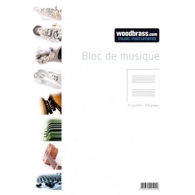 WOODBRASS BLOC MUSIQUE 12 PORTEES 100 PAGES 21 X 29,7 CM