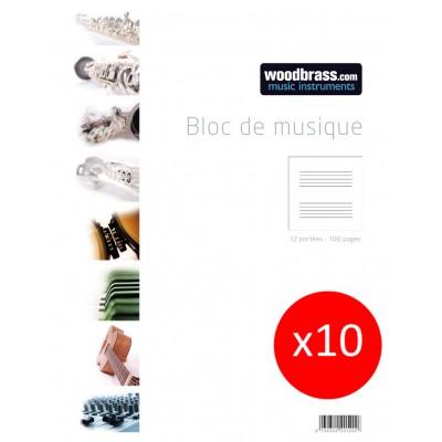 WOODBRASS LOT DE 10 BLOCS MUSIQUE 12 PORTEES 100 PAGES 21 X 29,7 CM DONT 2 OFFERTS