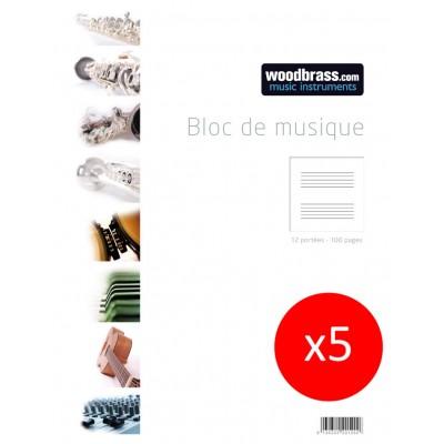 WOODBRASS LOT DE 5 BLOCS MUSIQUE 12 PORTEES 100 PAGES 21 X 29,7 CM