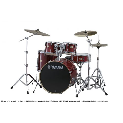 YAMAHA STAGE CUSTOM BIRCH - STANDARD - CRANBERRY RED + PACK HARDWARE HW680W