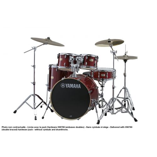 YAMAHA STAGE CUSTOM BIRCH - STANDARD - CRANBERRY RED + PACK HARDWARE HW780