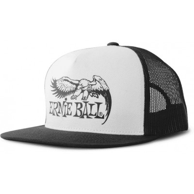 ERNIE BALL BLACK WITH WHITE FRONT AND BLACK EAGLE LOGO HAT