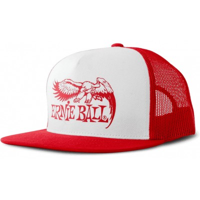 ERNIE BALL RED WITH WHITE FRONT AND RED EAGLE LOGO HAT