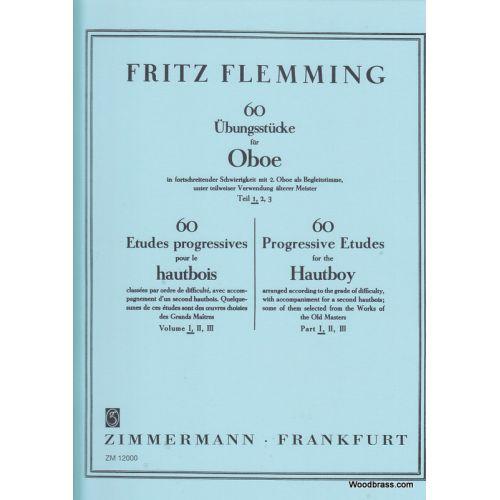 ZIMMERMANN FLEMMING FRITZ - 60 ETUDES PROGRESSIVES POUR LE HAUTBOIS VOL.1