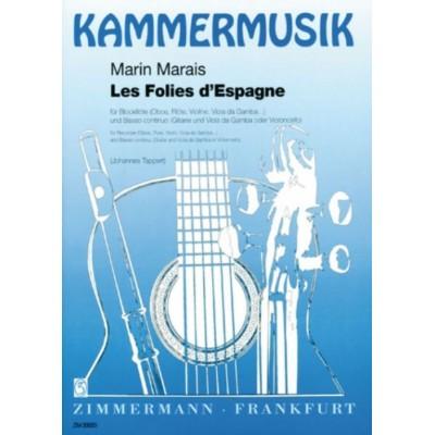 ZIMMERMANN MARAIS M. - LES FOLIES D'ESPAGNE - FLUTE ET BC