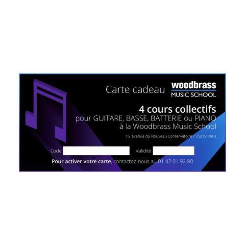 WOODBRASS CLUB GIFT CARD WOODBRASS MUSIC SCHOOL PARIS