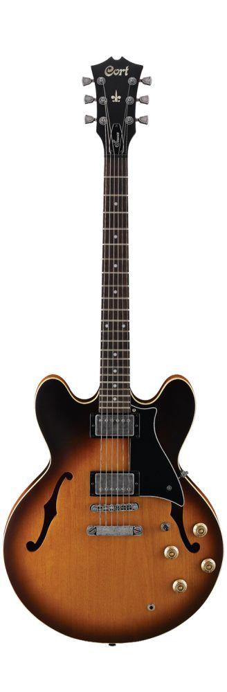 Cort - guitare electrique - serie jazz box - source 136bbs - brown burst satin