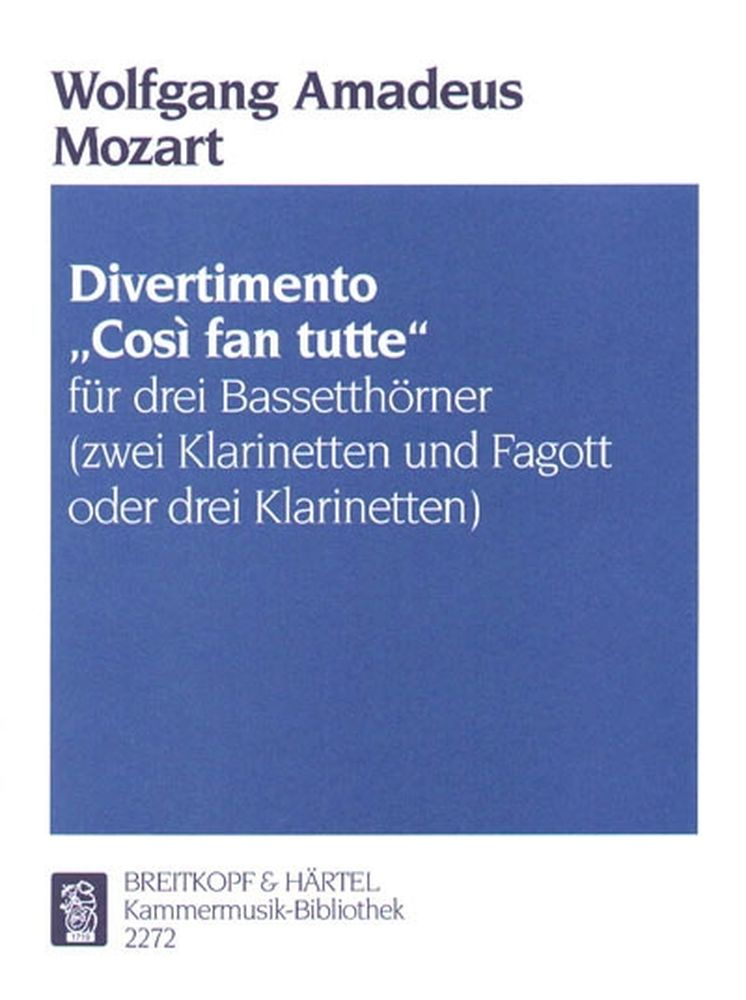 Mozart Wolfgang Amadeus - Divertimento Cosi Fan Tutte - 3 Bass Horn