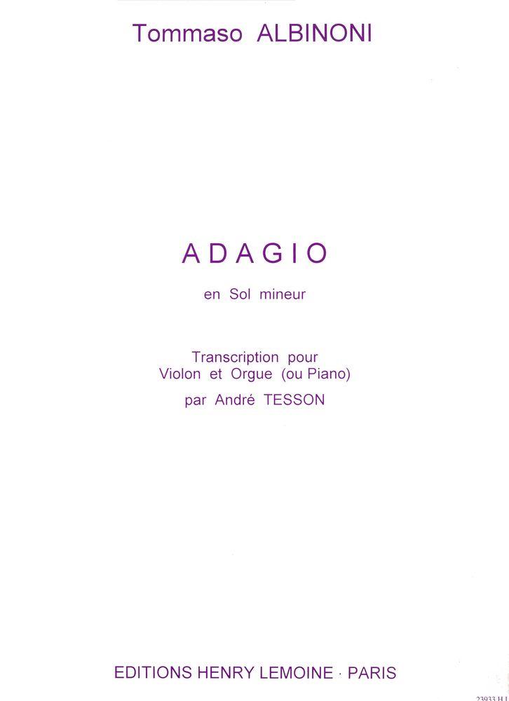 Albinoni Tomaso - Adagio - Violon, Piano