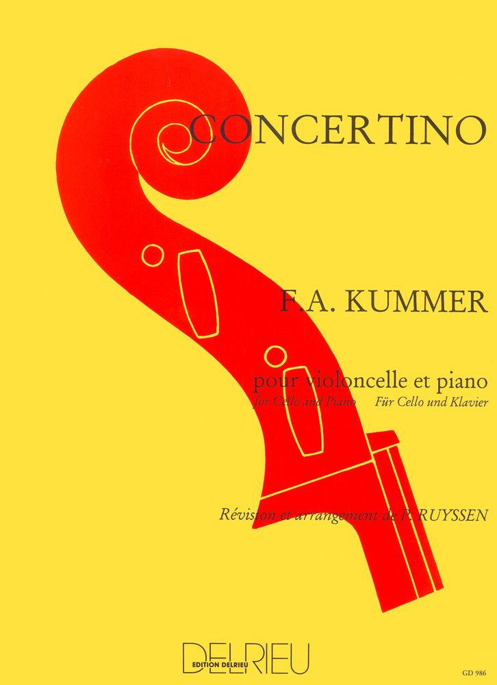 KUMMER - CONCERTINO EN DO MAJ. - VIOLONCELLE, PIANO