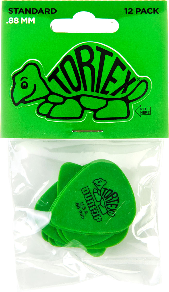 Jim Dunlop Tortex Standard Plettri colore verde Players Pack da 6 plettri 0.88 mm