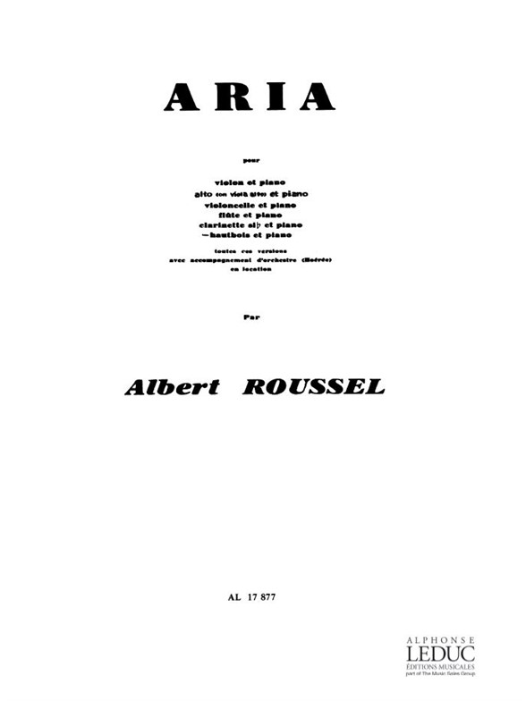 Roussel A. - Aria - Hautbois Et Piano
