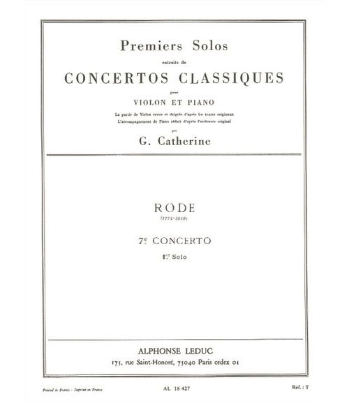 Rode/catherine - Premier Solo Du Concerto N° 7 - Violon