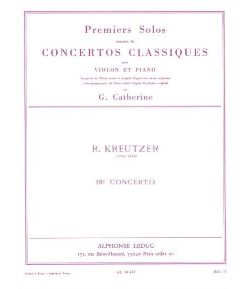 Kreutzer - Solo N°1 Du Concerto N°19 (catherine) - Violon Et Piano