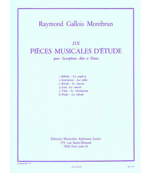 Gallois-montbrun Raymond - 6 Pieces Musicales D'etude