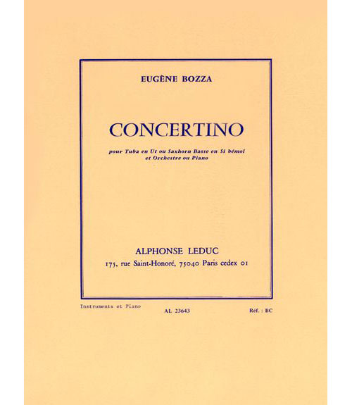 Bozza E. - Concertino Pour Tuba En Ut Ou Saxhorn Basse En Si Bemol