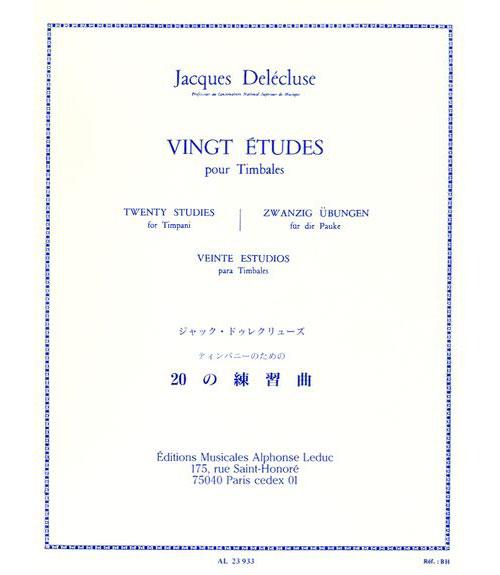 Delecluse Jacques - 20 Etudes - Timbales