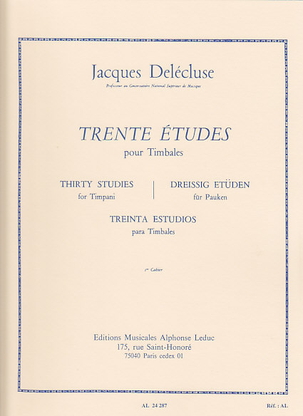 Delecluse Jacques - Trente Etudes Pour Timbales Cahier 1