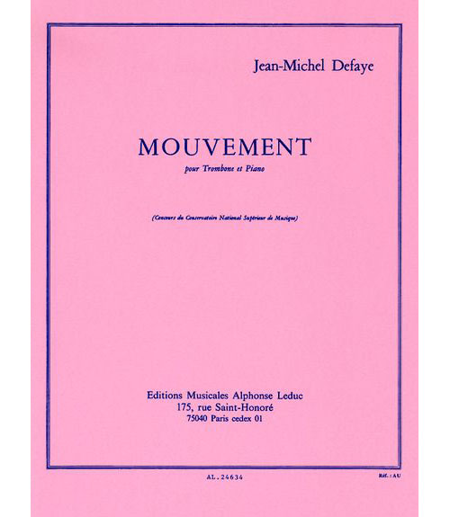 Defaye Jean-michel - Mouvement - Trombone & Piano
