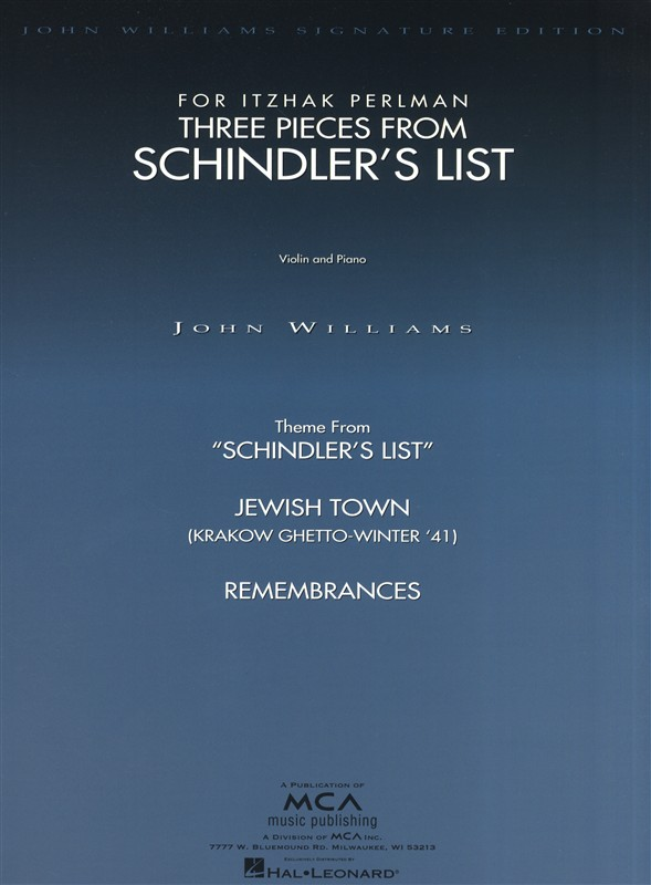 John Williams Three Pieces From Schindler's List - Violin