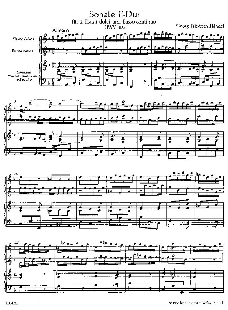 partition flute a bec tenor