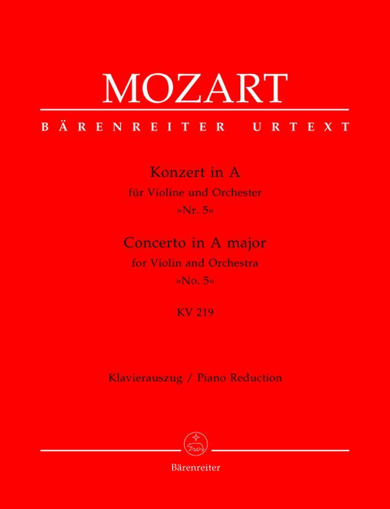 Mozart W.a. - Concerto En La Majeur N°5 Kv 219 - Violon, Pian0